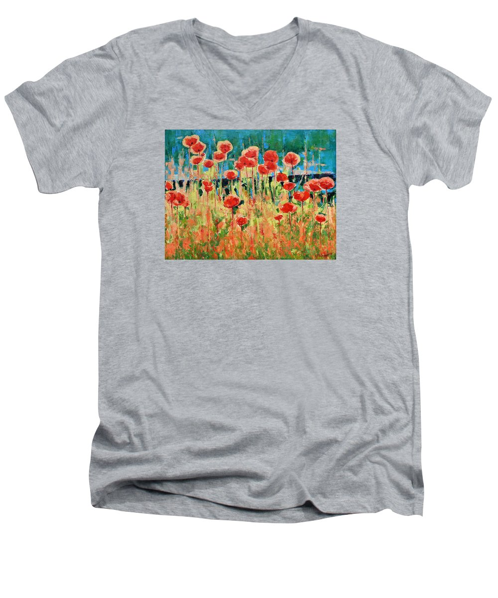 Poppies Men's V-Neck T-Shirt featuring the painting Poppies And Traverses 2 by Iliyan Bozhanov
