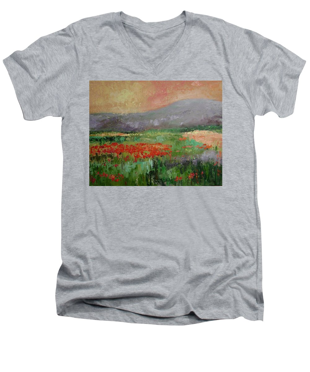 Poppies Men's V-Neck T-Shirt featuring the painting Poppyfield by Ginger Concepcion