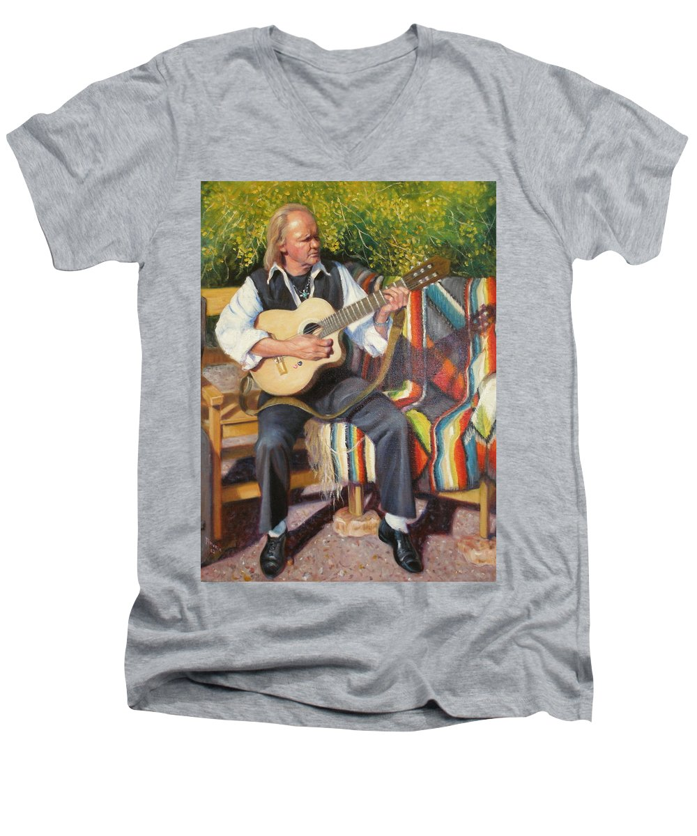 Realism Men's V-Neck T-Shirt featuring the painting Por Tu Amor by Donelli DiMaria