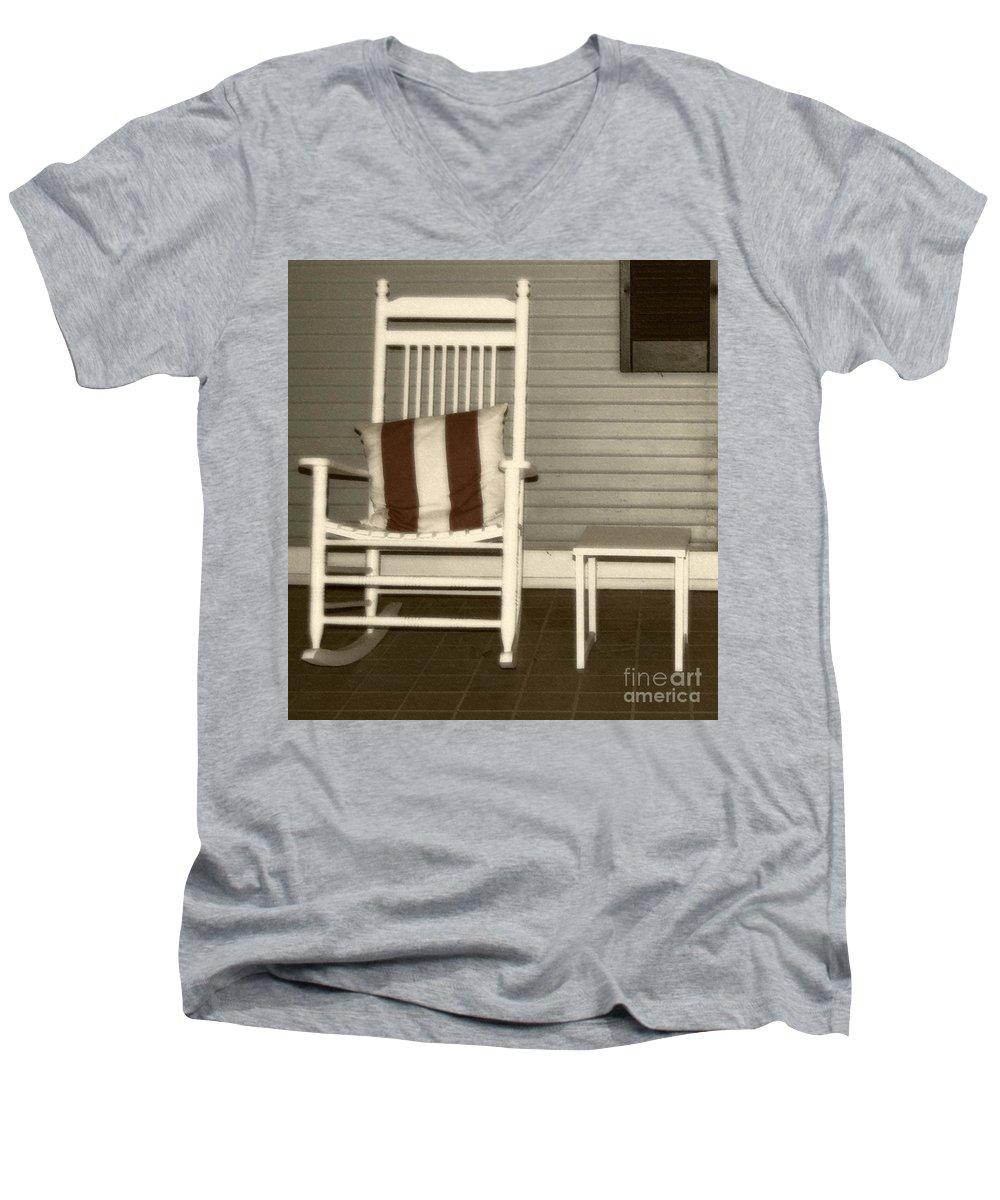 Rocking Chair Men's V-Neck T-Shirt featuring the photograph Porch Rocker by Debbi Granruth