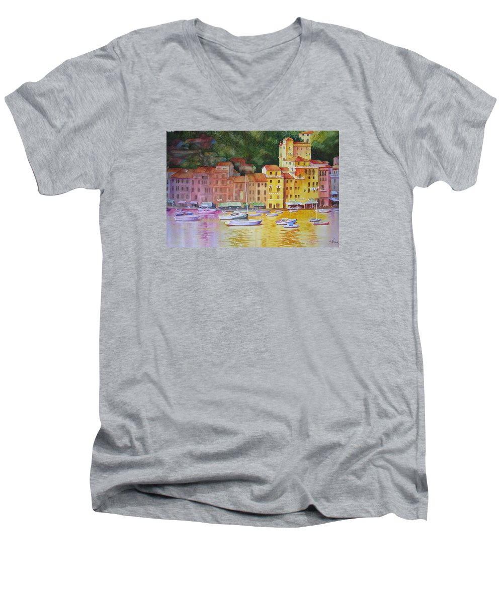 Italy Men's V-Neck T-Shirt featuring the painting Portofino Afternoon by Karen Stark