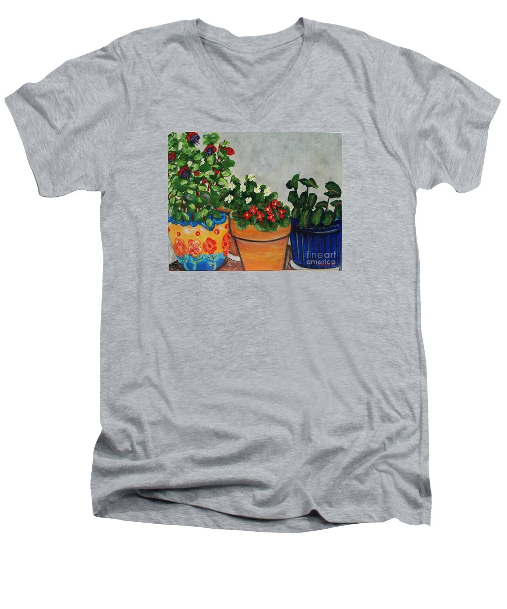 Ceramic Pots Men's V-Neck T-Shirt featuring the painting Pots Showing Off by Laurie Morgan