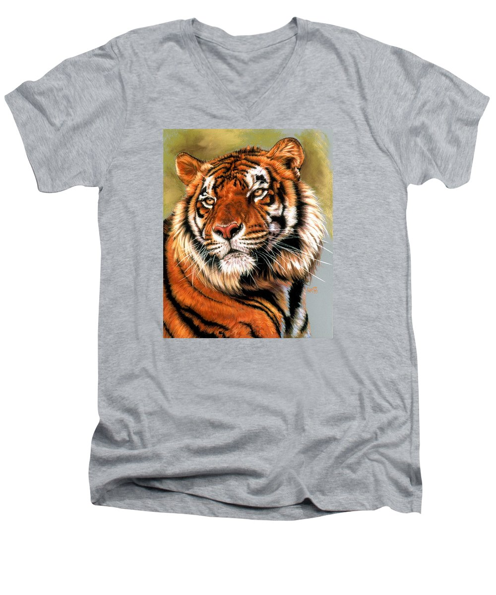 Tiger Men's V-Neck T-Shirt featuring the pastel Power And Grace by Barbara Keith