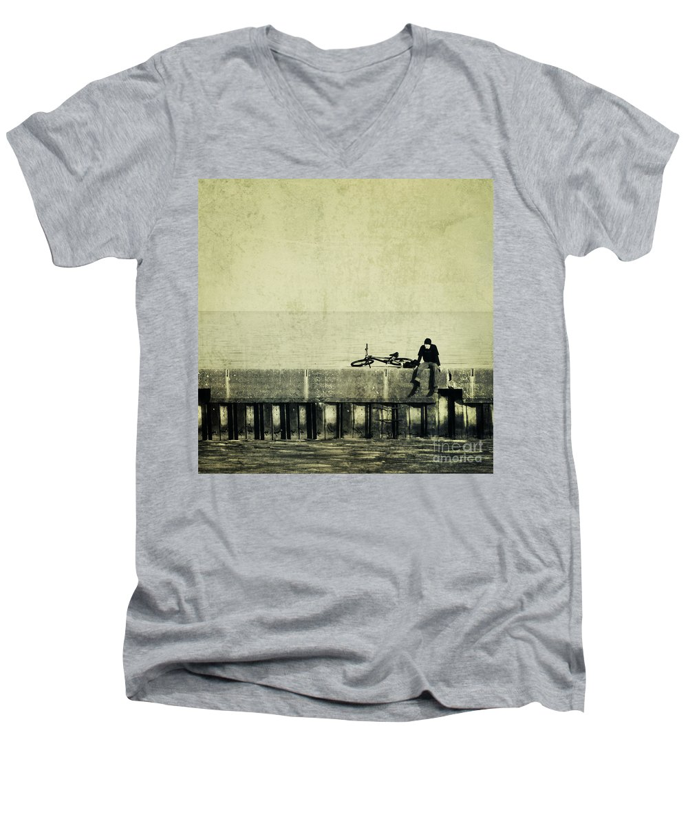 Man Men's V-Neck T-Shirt featuring the photograph Praying To A God I Dont Believe In by Dana DiPasquale