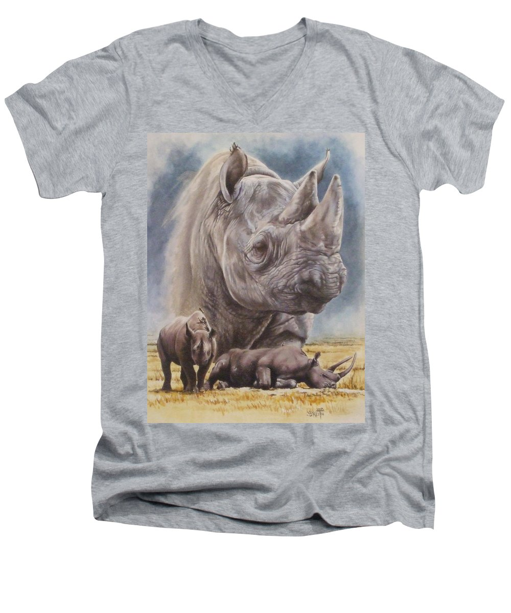 Wildlife Men's V-Neck T-Shirt featuring the mixed media Precarious by Barbara Keith