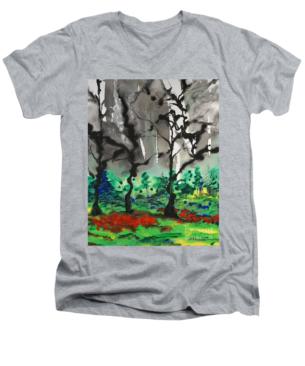 Forest Men's V-Neck T-Shirt featuring the painting Primary Forest by Nadine Rippelmeyer
