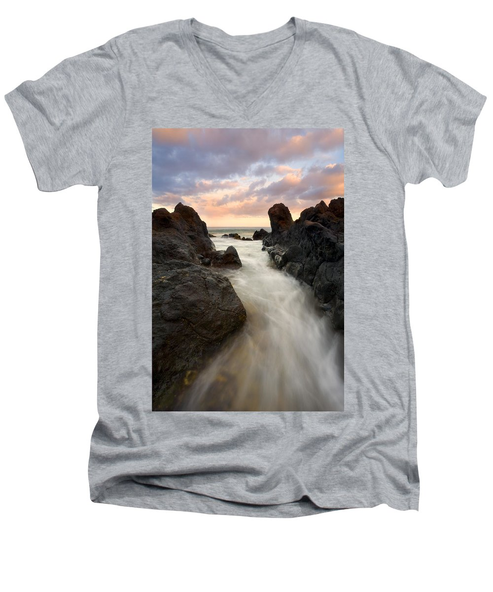 Sunrise Men's V-Neck T-Shirt featuring the photograph Primordial Tides by Mike Dawson