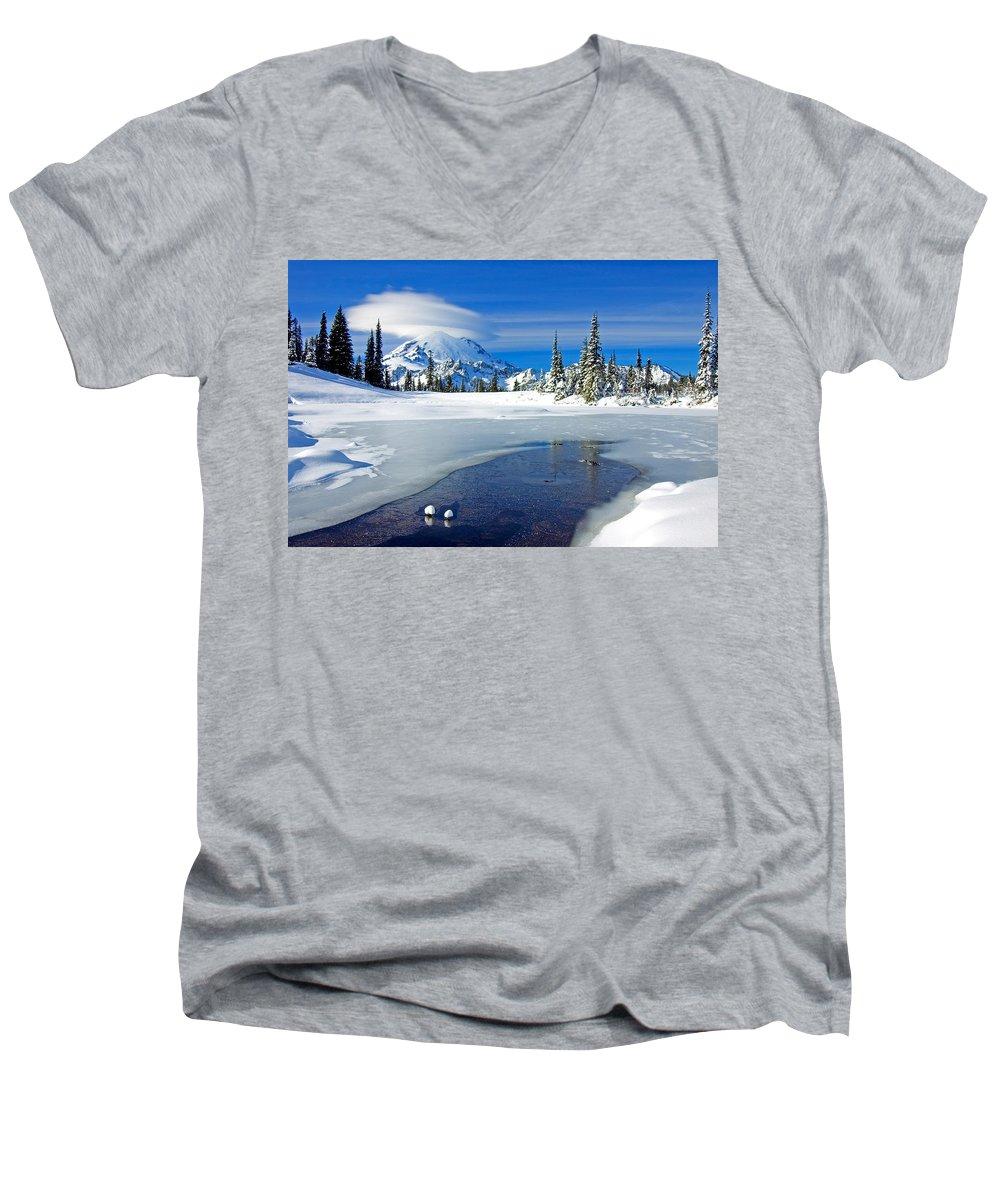 Rainier Men's V-Neck T-Shirt featuring the photograph Pristine by Mike Dawson