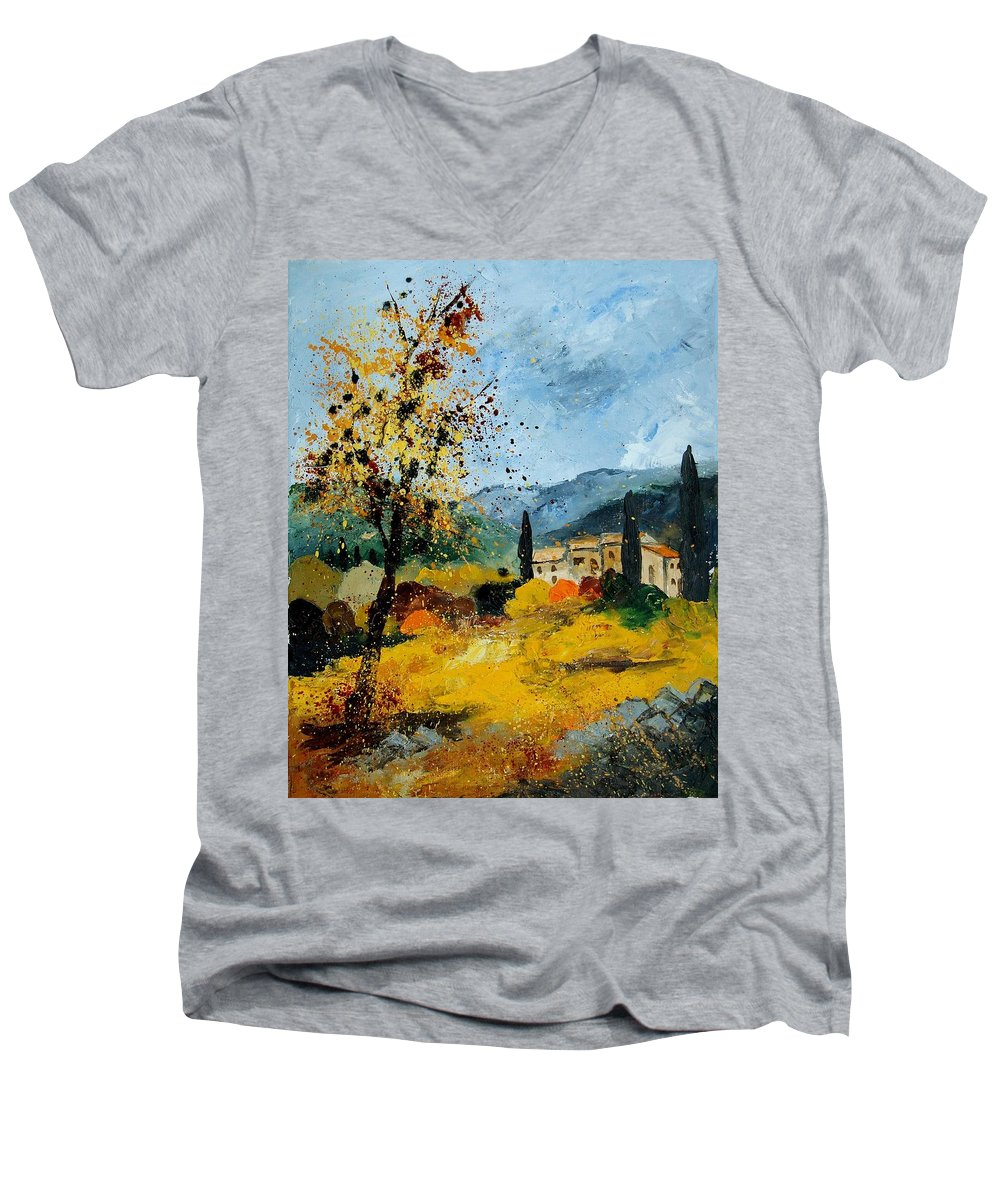 Provence Men's V-Neck T-Shirt featuring the painting Provence 45 by Pol Ledent