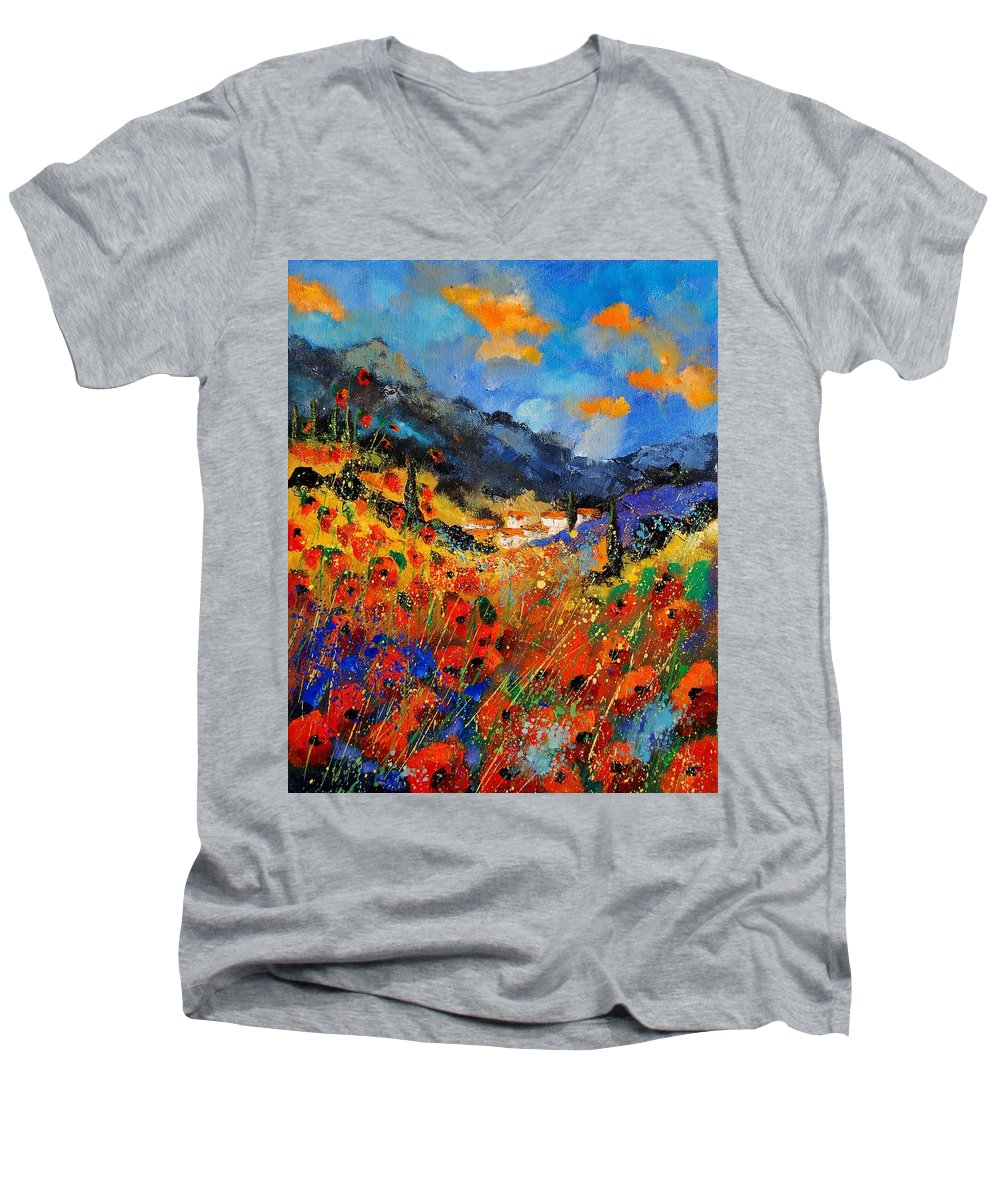 Men's V-Neck T-Shirt featuring the painting Provence 459020 by Pol Ledent