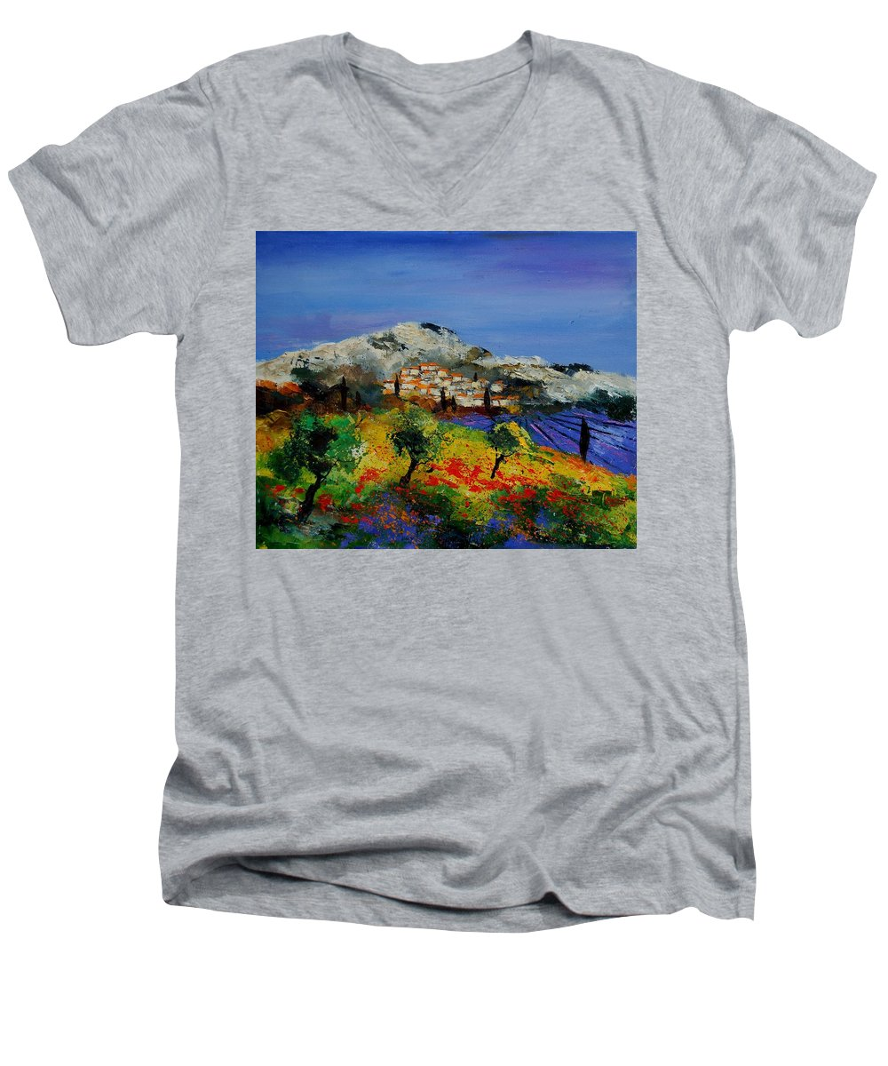 Provence Men's V-Neck T-Shirt featuring the painting Provence 569010 by Pol Ledent