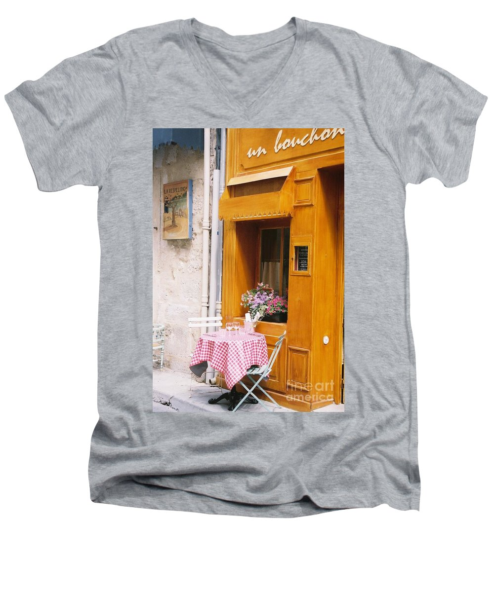 Cafe Men's V-Neck T-Shirt featuring the photograph Provence Cafe by Nadine Rippelmeyer