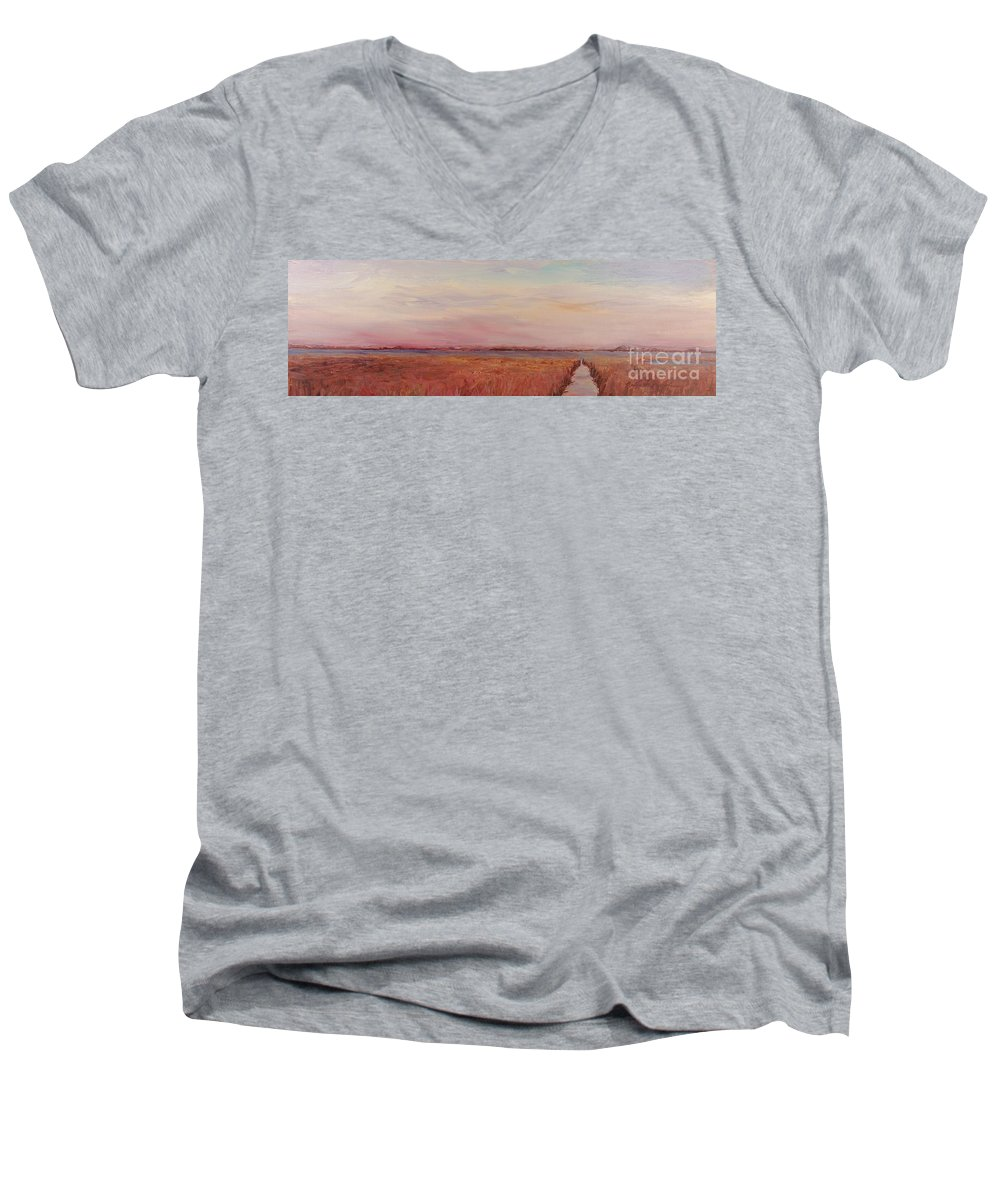 Landscape Men's V-Neck T-Shirt featuring the painting Provence Camargue by Nadine Rippelmeyer