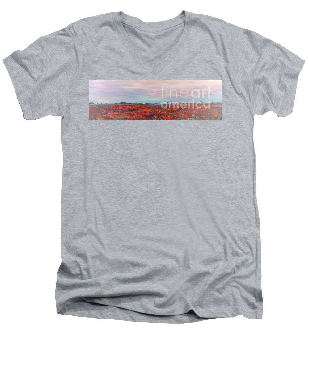 Poppies Men's V-Neck T-Shirt featuring the painting Provence Poppies by Nadine Rippelmeyer