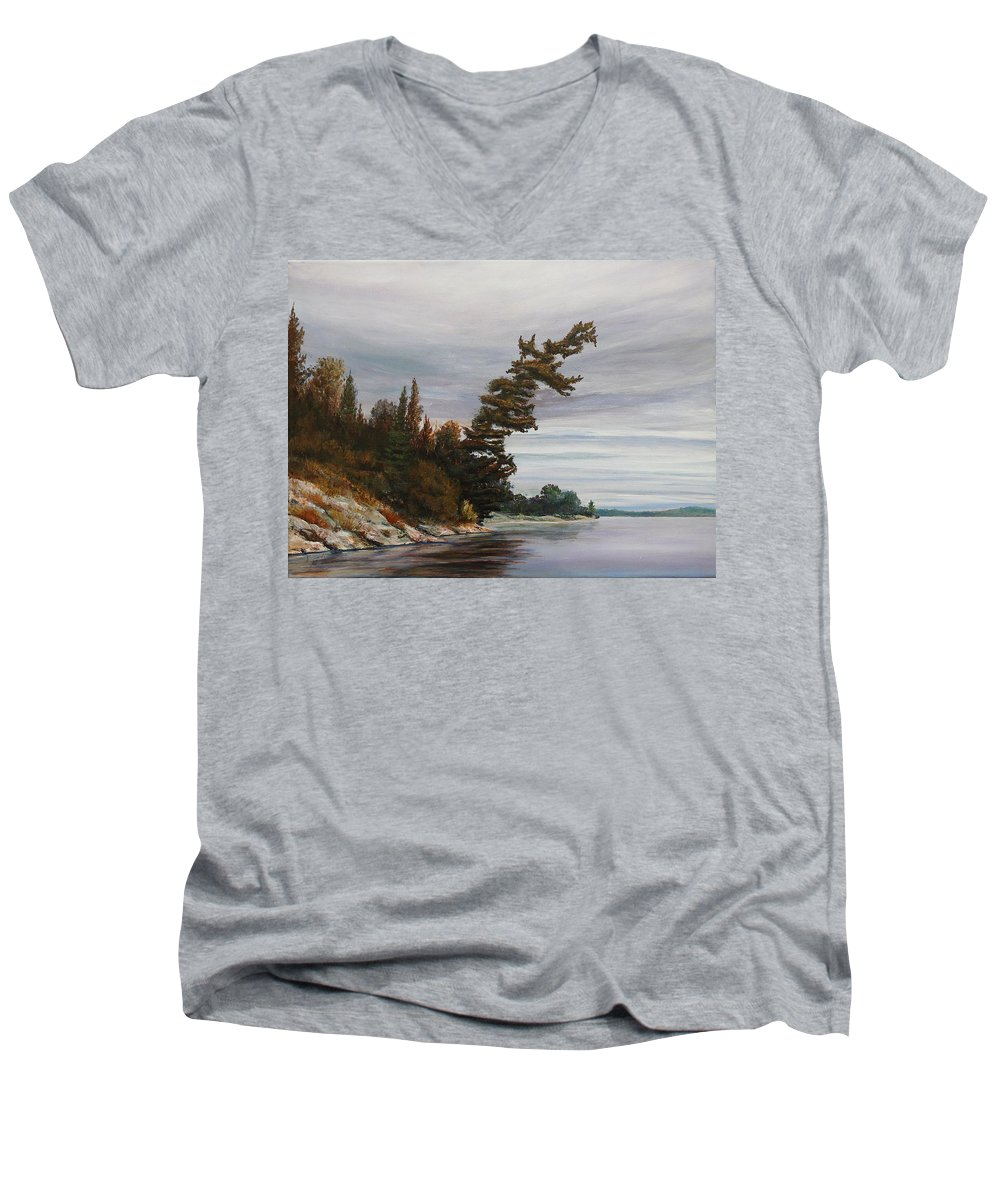 Landscape Men's V-Neck T-Shirt featuring the painting Ptarmigan Bay by Ruth Kamenev