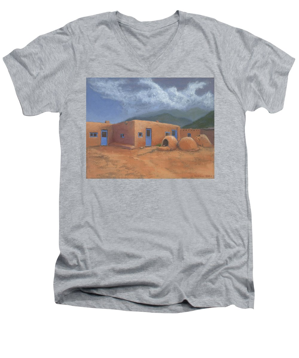 Taos Men's V-Neck T-Shirt featuring the painting Puertas Azul by Jerry McElroy