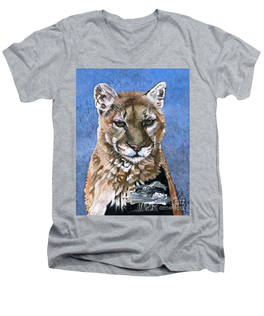 Puma Men's V-Neck T-Shirt featuring the painting Puma - The Hunter by J W Baker