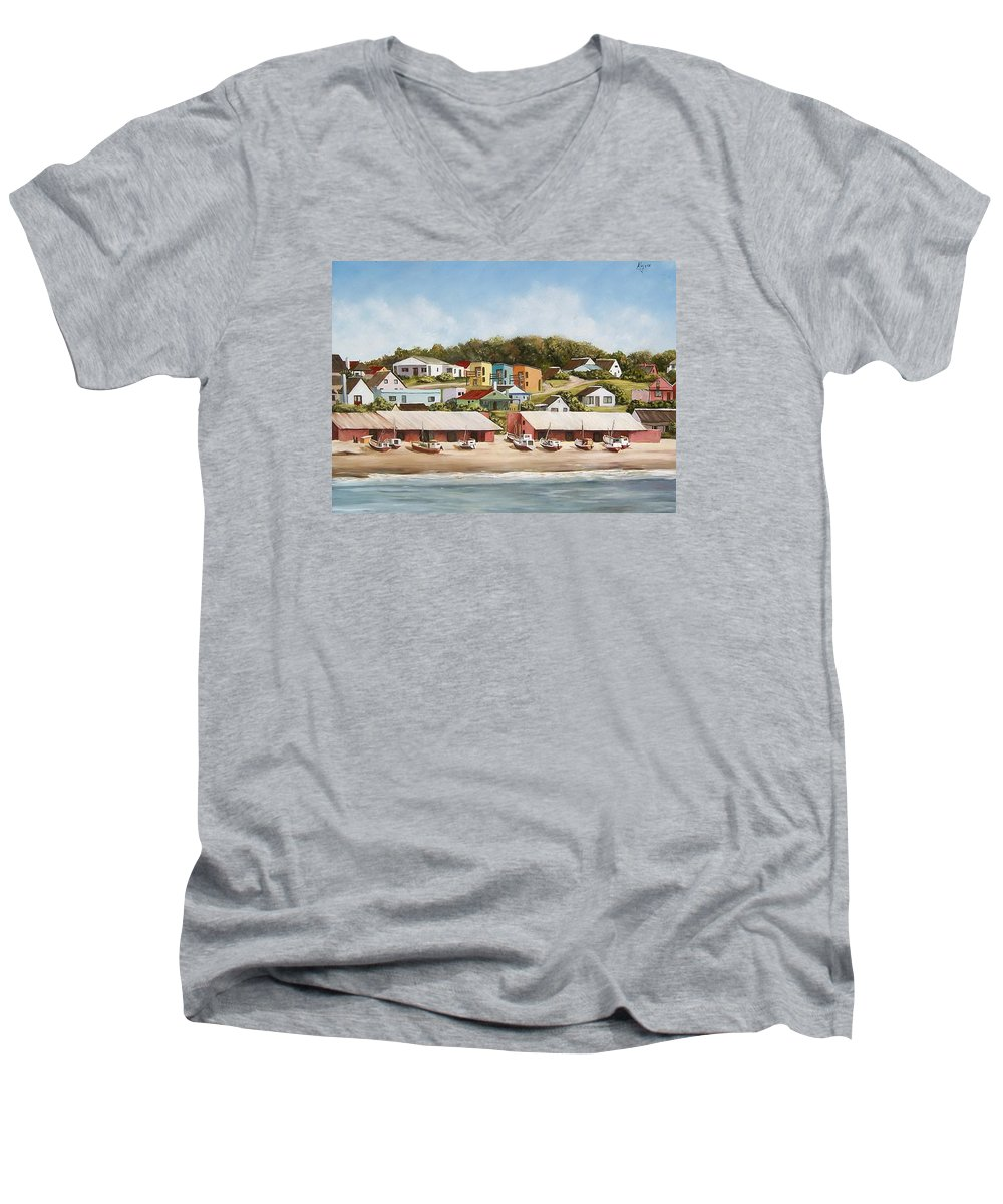 Landscape Seascape Uruguay Sea Seaside Boats Men's V-Neck T-Shirt featuring the painting Punta Del Diablo 2 by Natalia Tejera