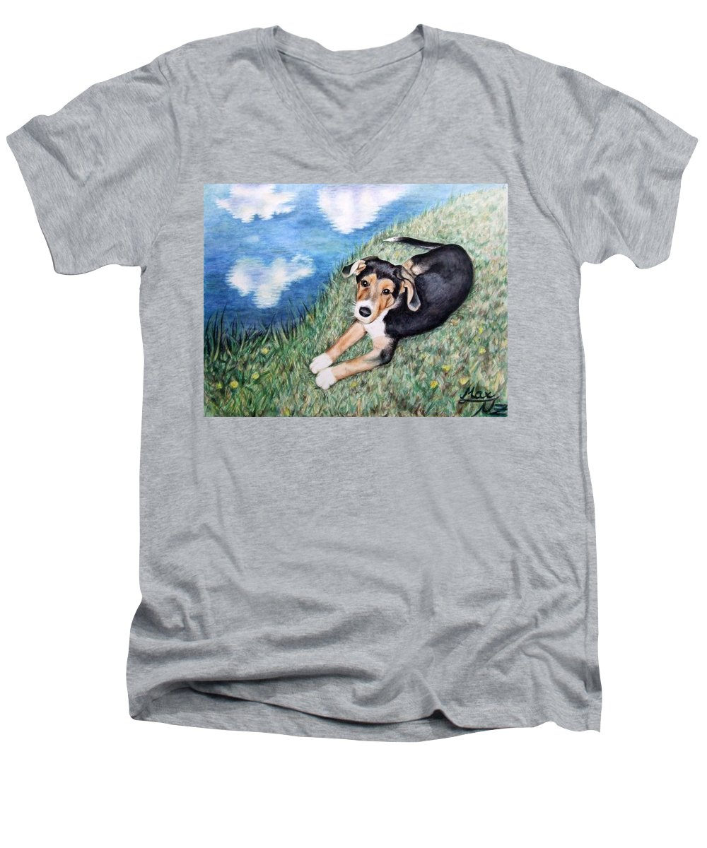 Dog Men's V-Neck T-Shirt featuring the painting Puppy Max by Nicole Zeug