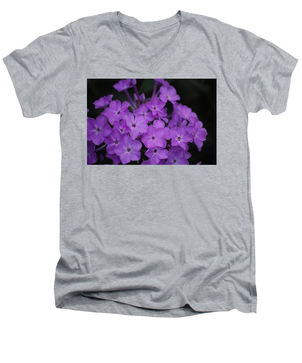 Digital Photo Men's V-Neck T-Shirt featuring the photograph Purple Blossoms by David Lane