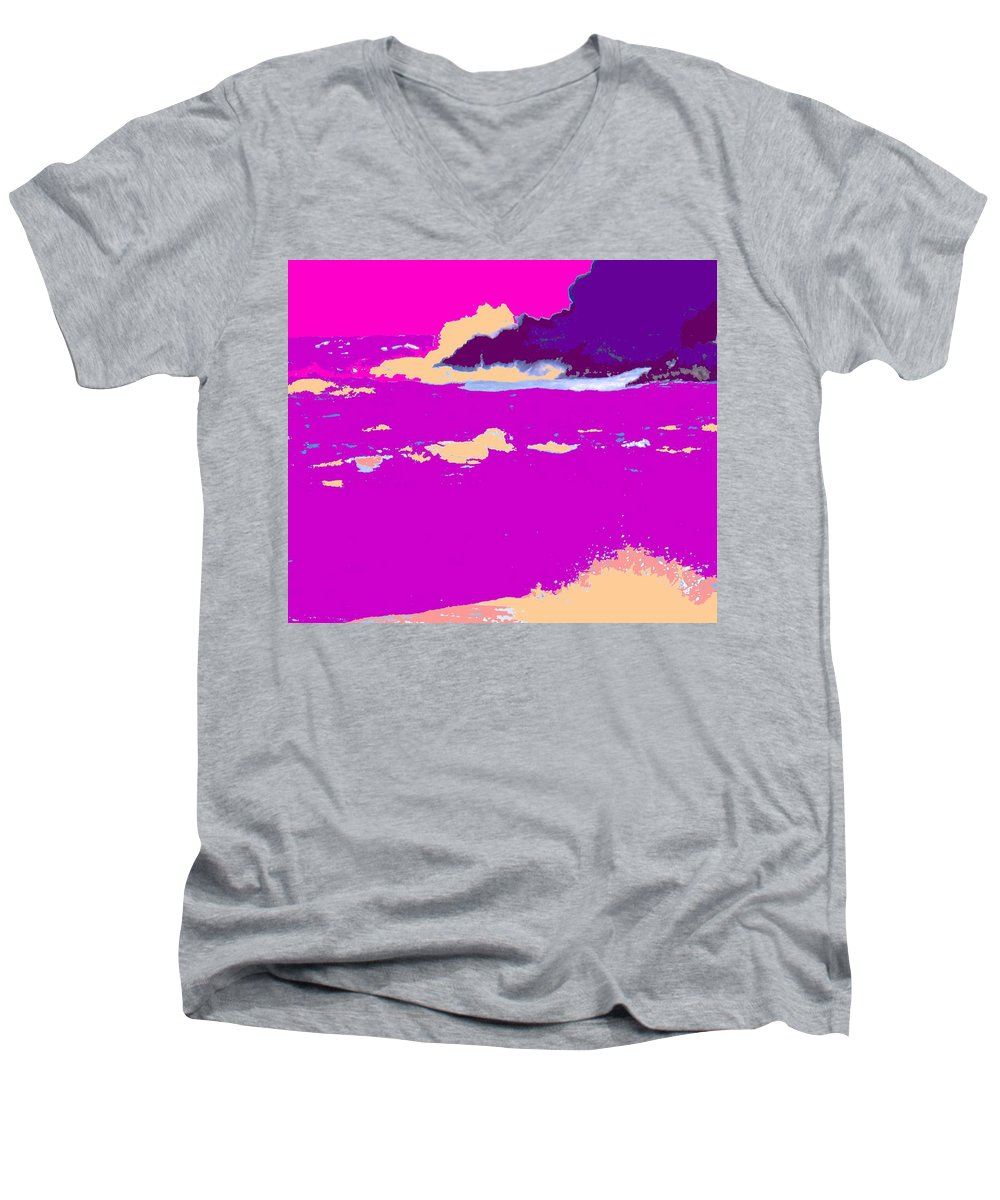 Waves Men's V-Neck T-Shirt featuring the photograph Purple Crashing Waves by Ian MacDonald