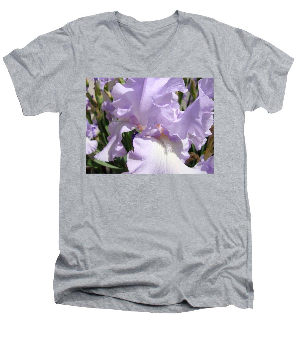 �irises Artwork� Men's V-Neck T-Shirt featuring the photograph Purple Irises Artwork Lavender Iris Flowers 13 Botanical Floral Art Baslee Troutman by Baslee Troutman