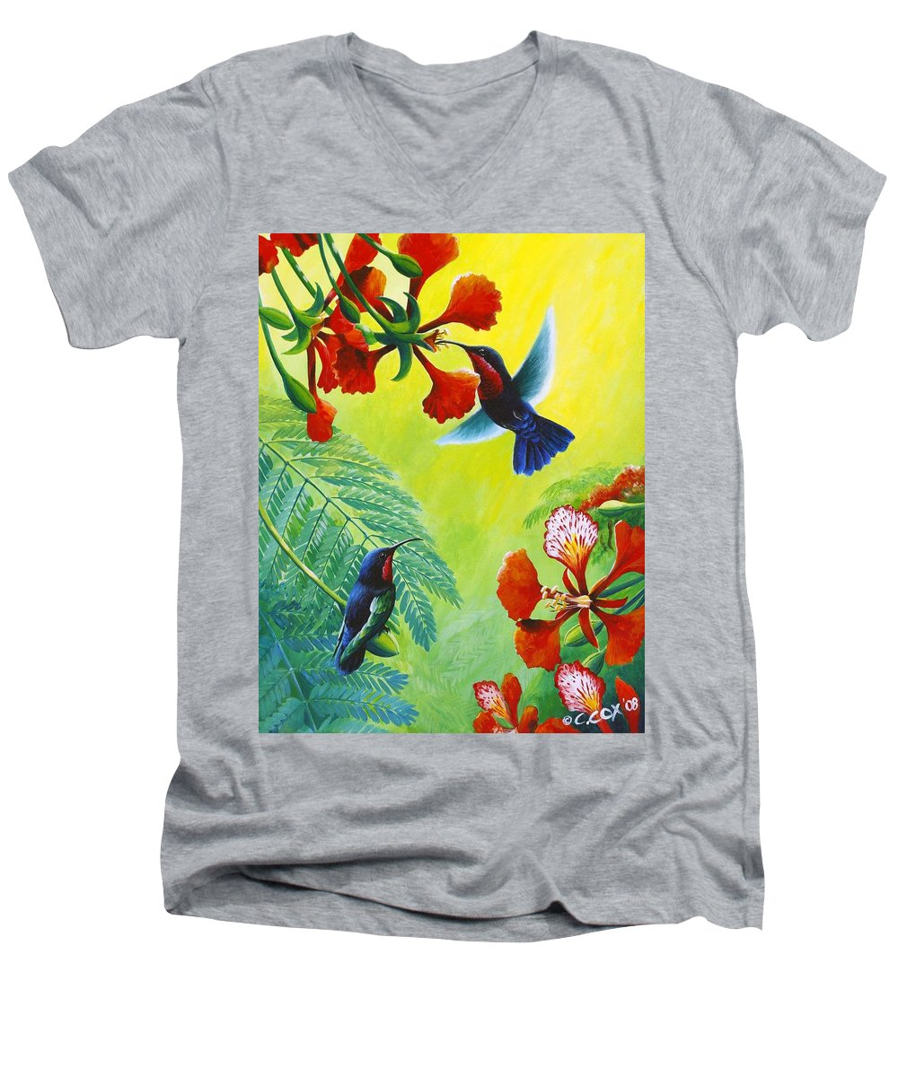 Chris Cox Men's V-Neck T-Shirt featuring the painting Purple-throated Caribs And Flamboyant by Christopher Cox