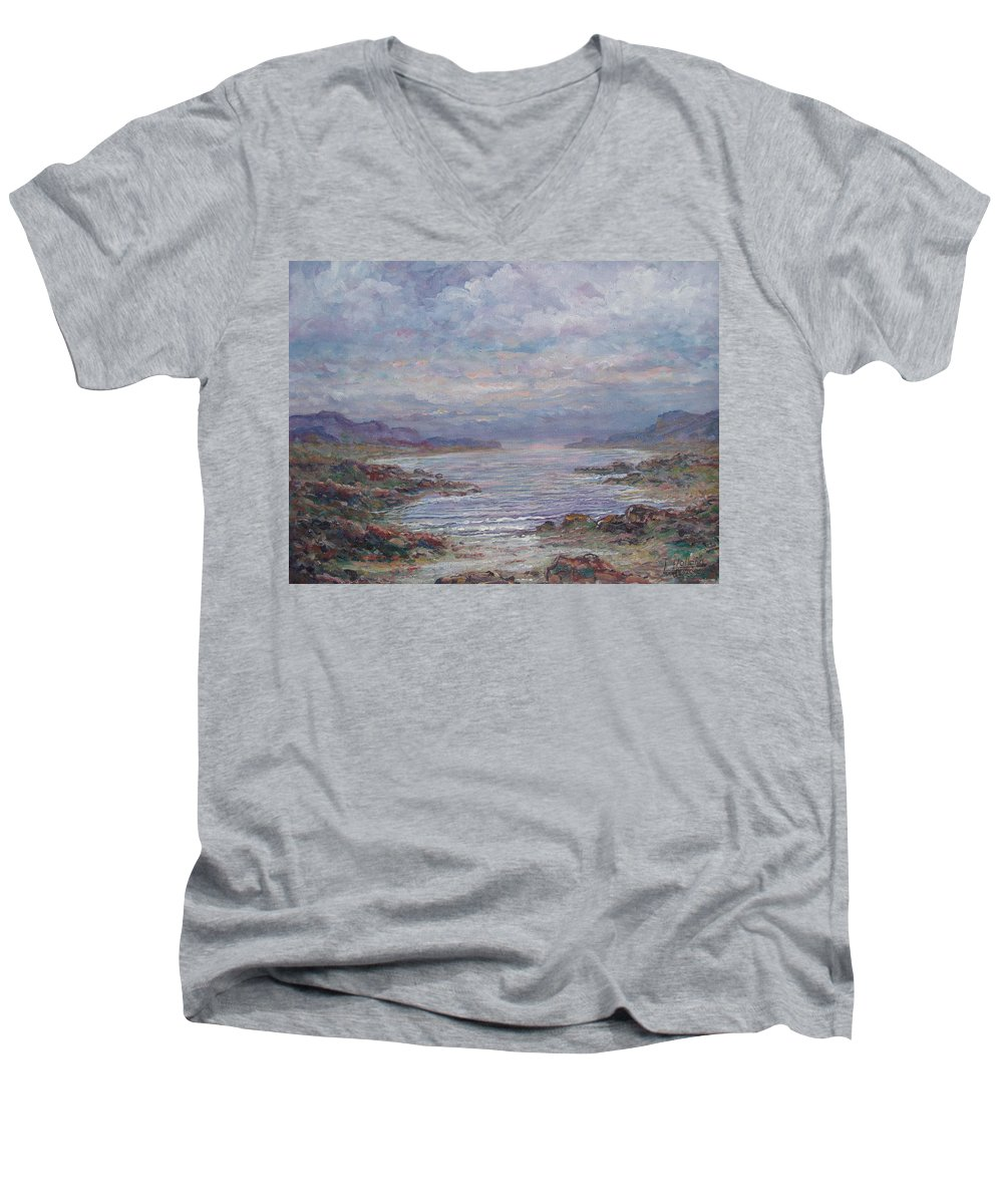 Painting Men's V-Neck T-Shirt featuring the painting Quiet Bay. by Leonard Holland