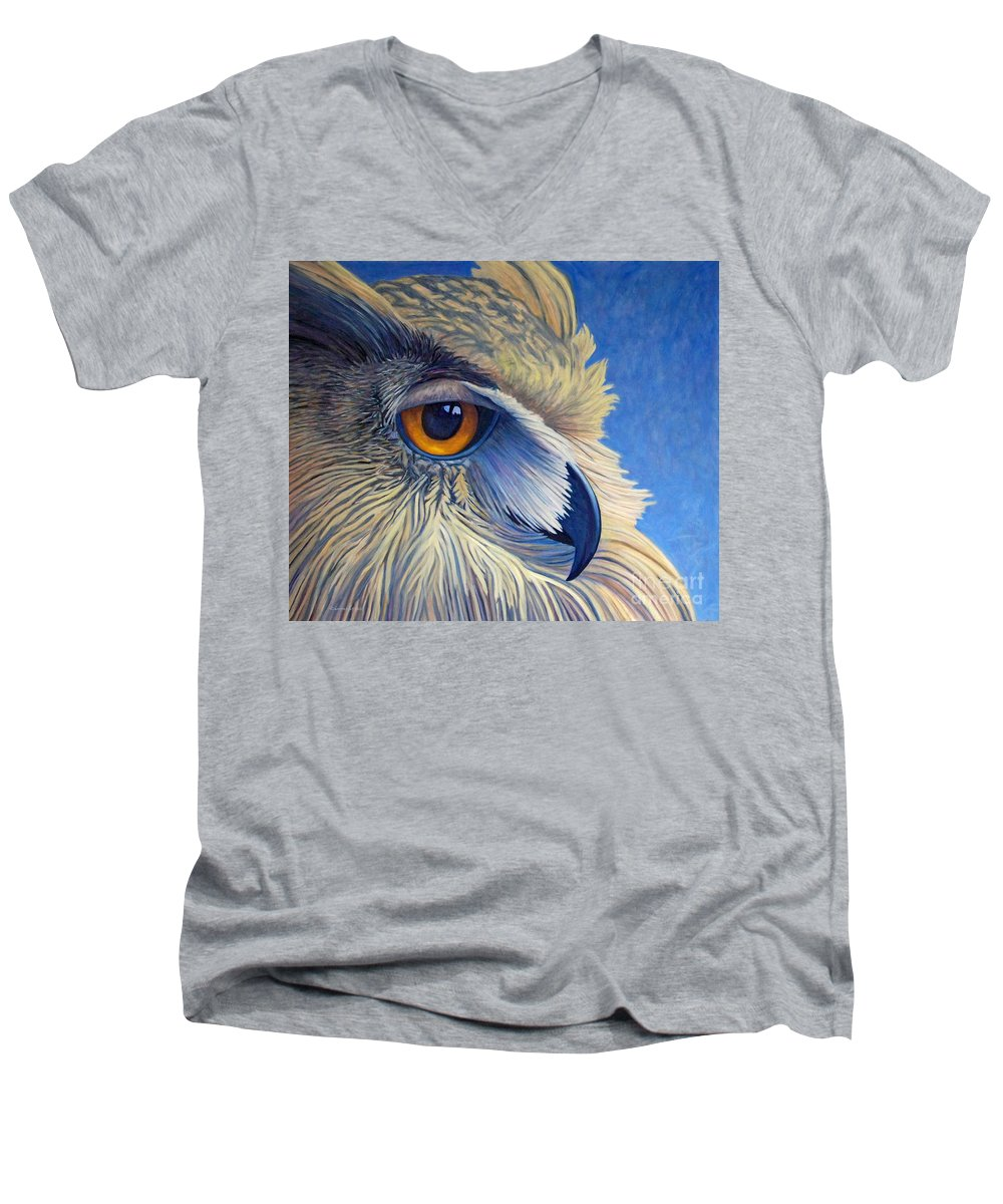 Owl Men's V-Neck T-Shirt featuring the painting Quiet Joy by Brian Commerford