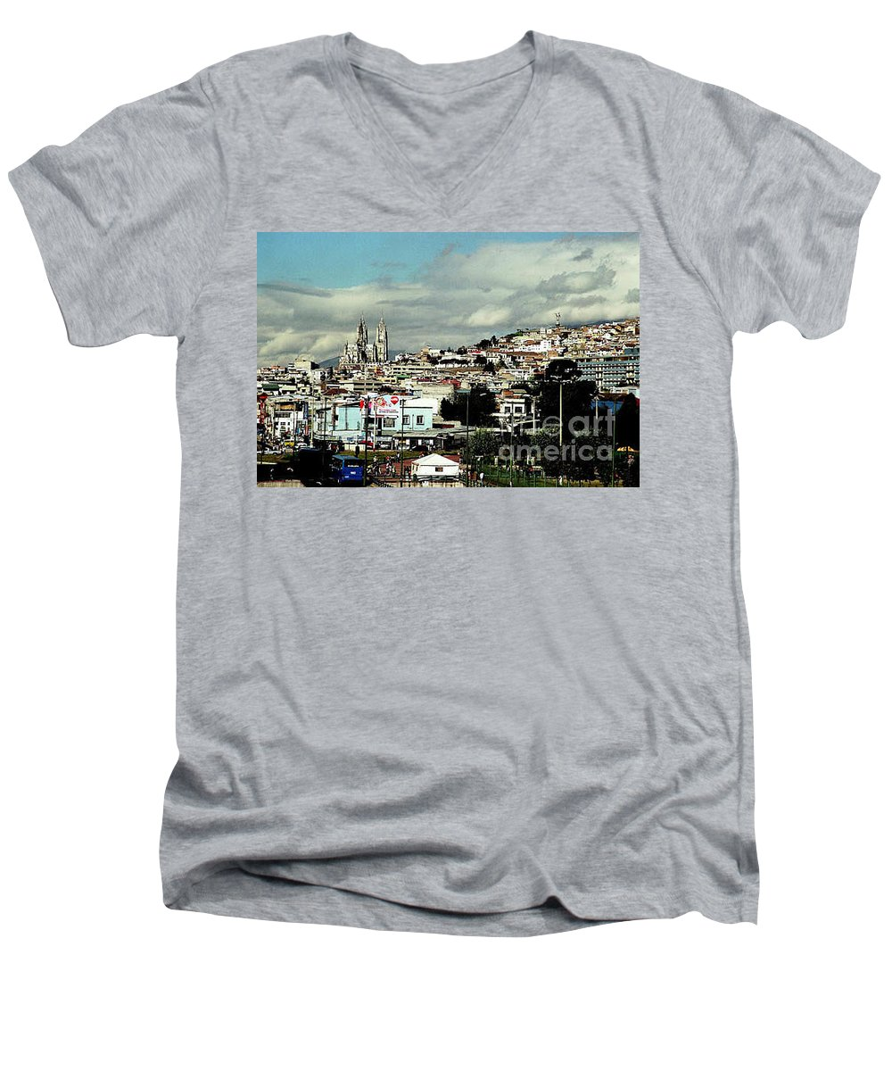 Ecuador Men's V-Neck T-Shirt featuring the photograph Quito by Kathy McClure