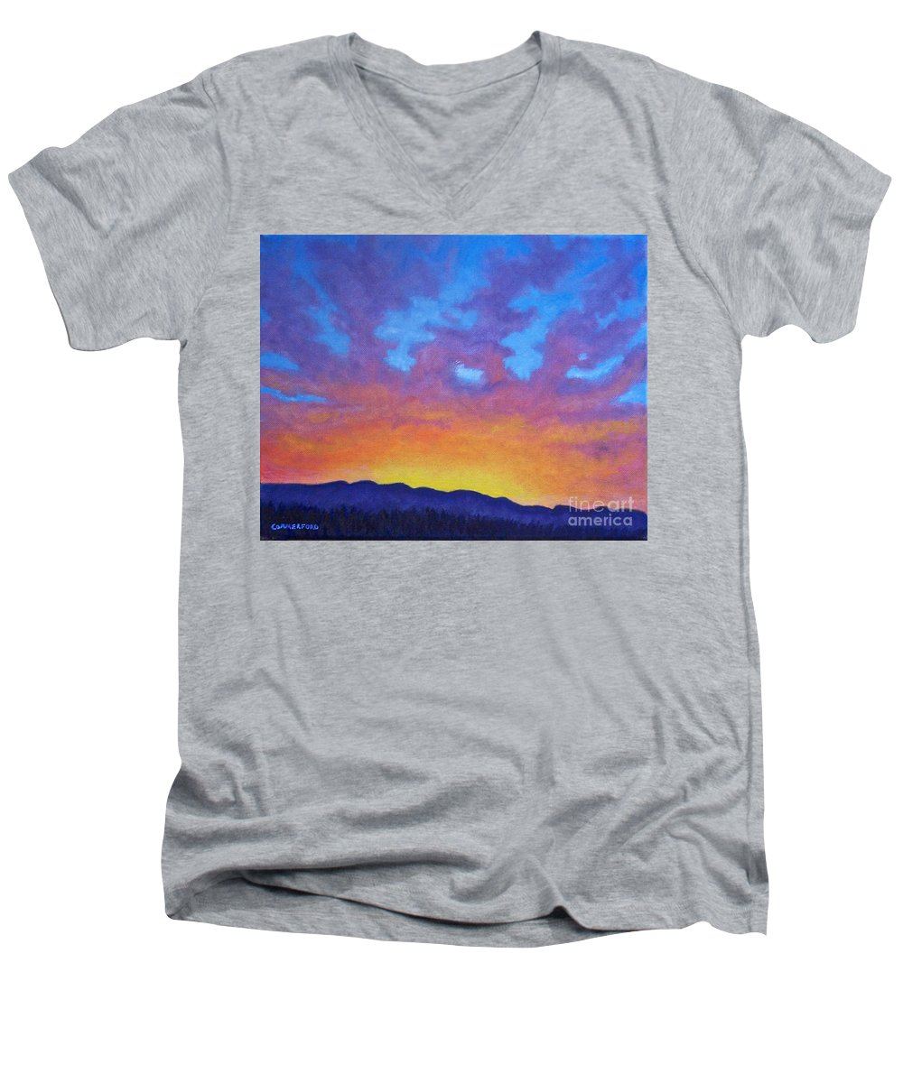 Landscape Men's V-Neck T-Shirt featuring the painting Radiance by Brian Commerford