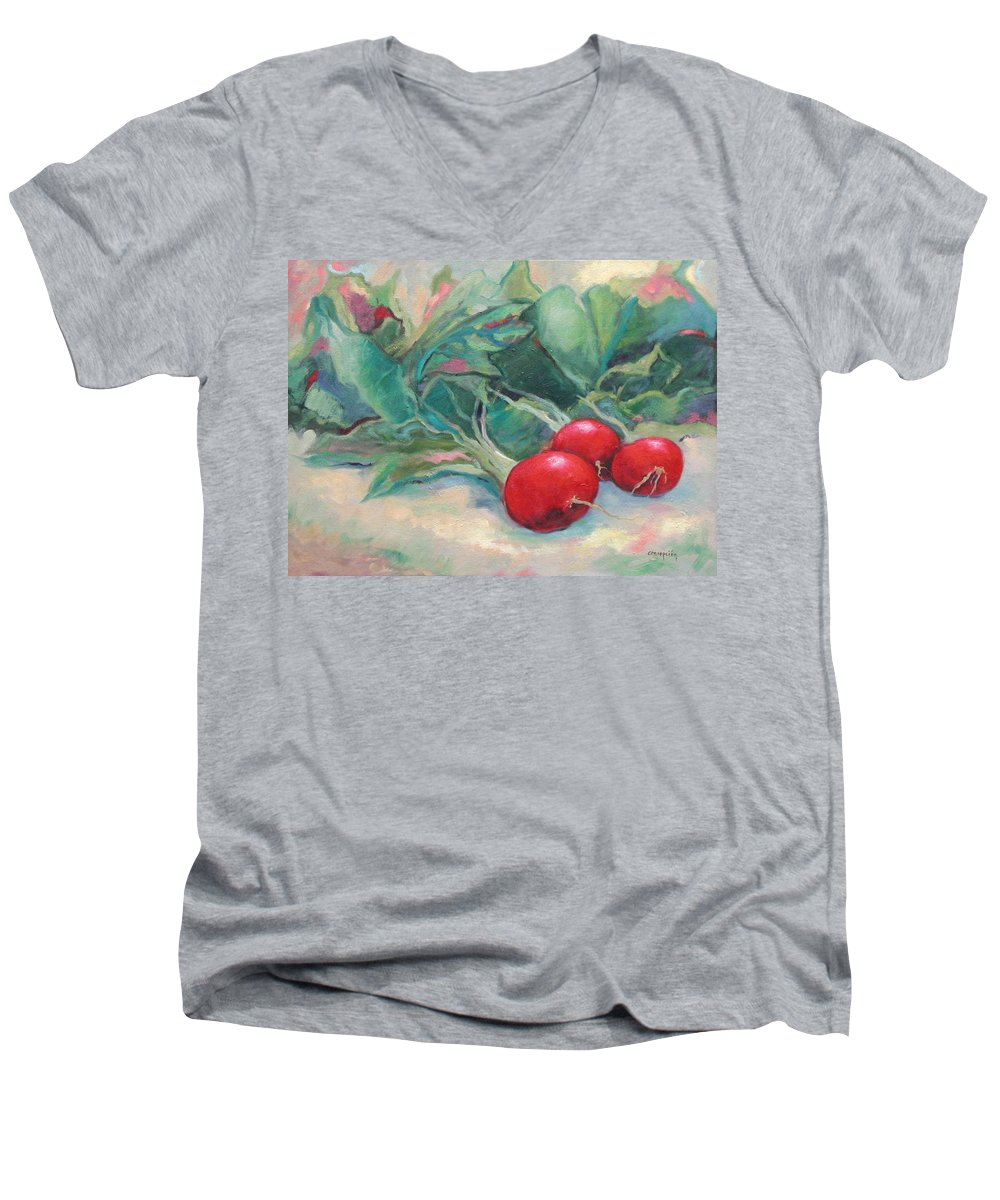 Radishes Men's V-Neck T-Shirt featuring the painting Radishes by Ginger Concepcion