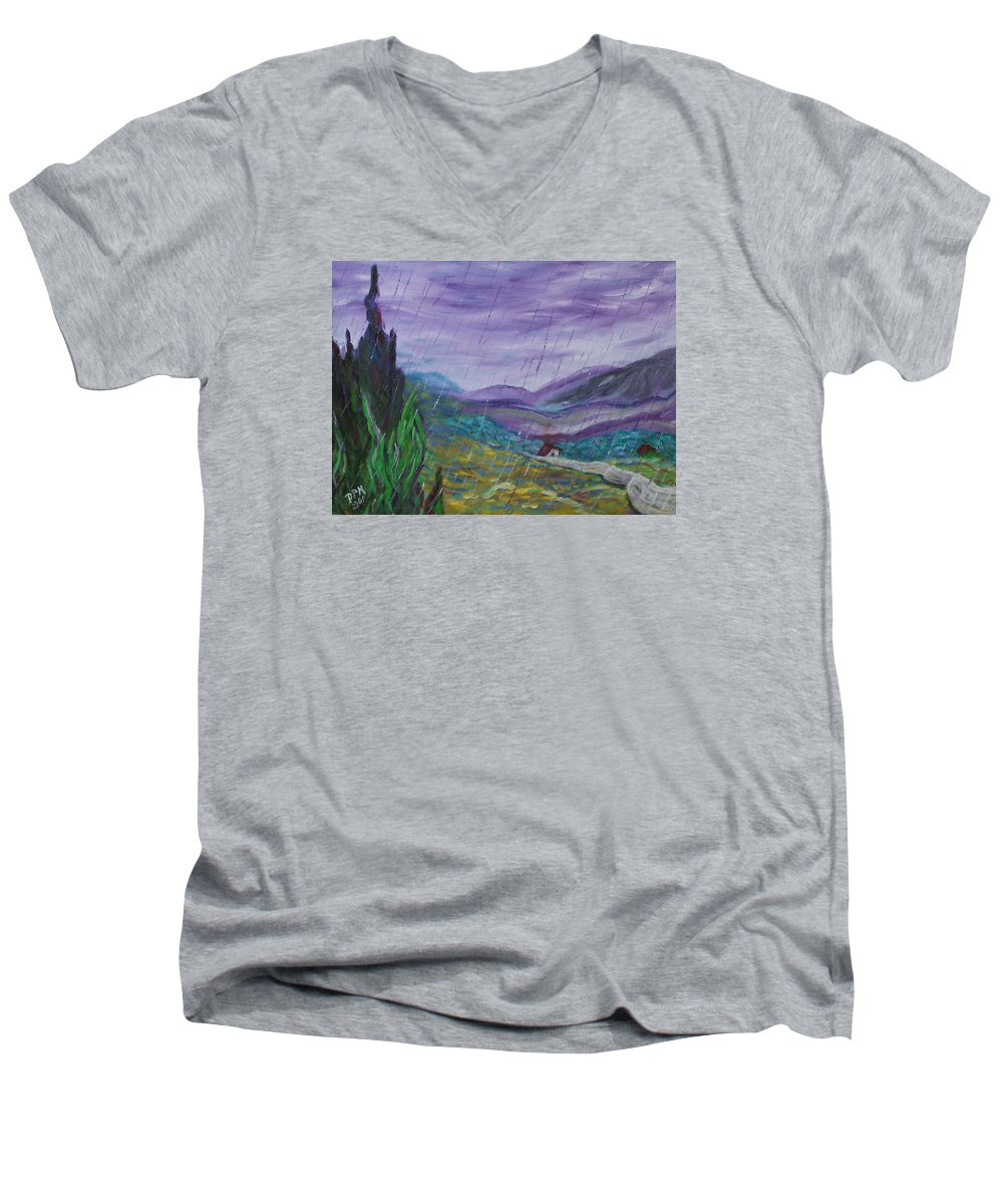 Rain Men's V-Neck T-Shirt featuring the painting Rain by David McGhee
