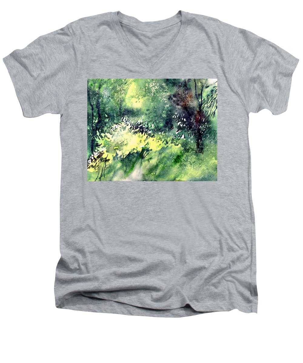 Landscape Watercolor Nature Greenery Rain Men's V-Neck T-Shirt featuring the painting Rain Gloss by Anil Nene