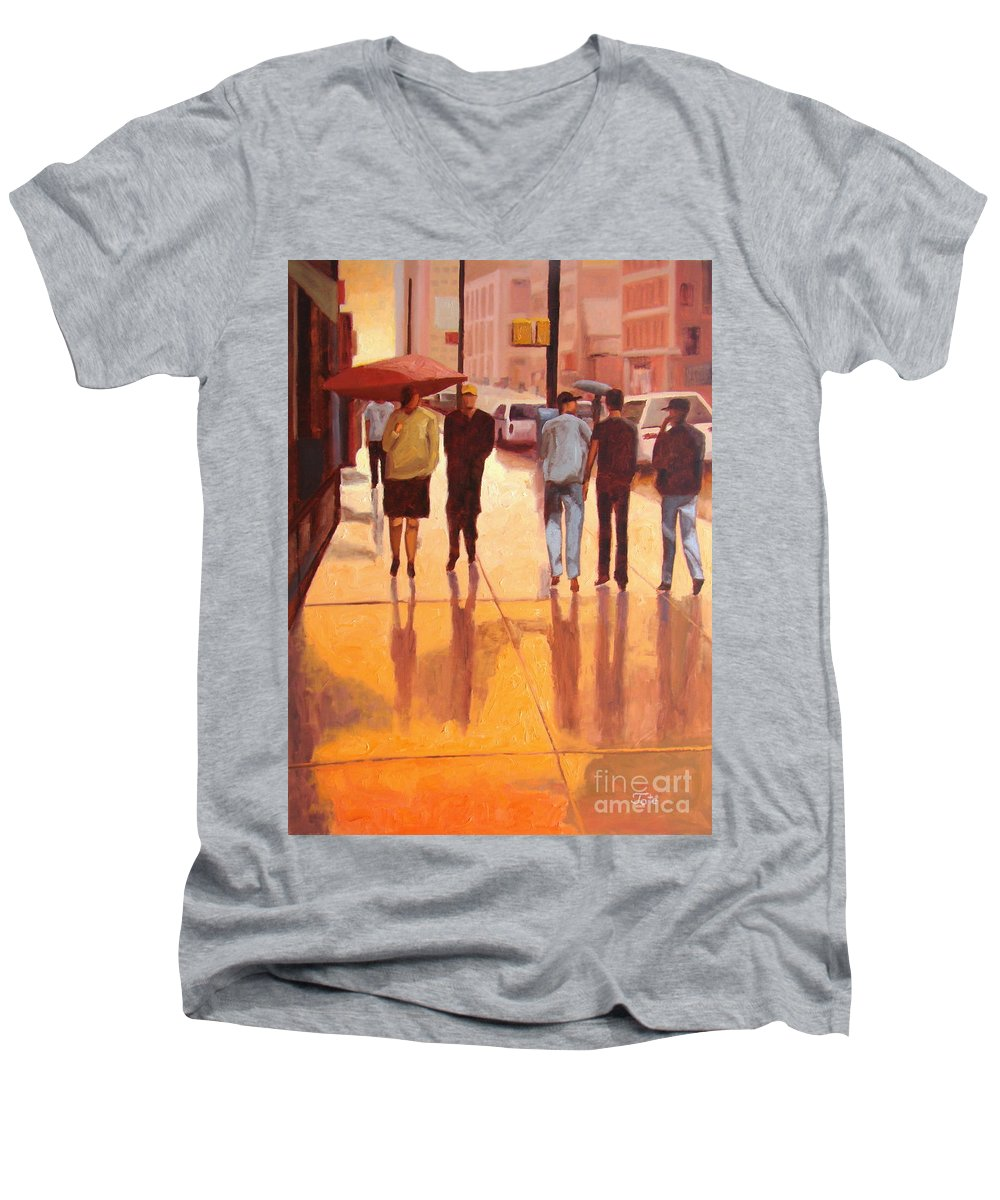 Manhattan Men's V-Neck T-Shirt featuring the painting Rain In Manhattan Number Eighteen by Tate Hamilton