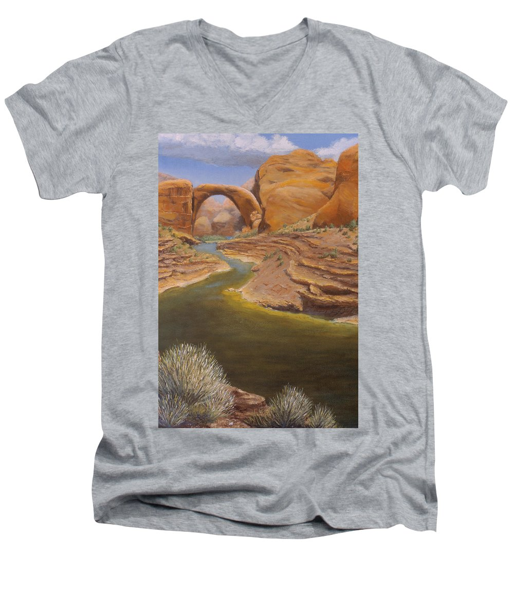 Rainbow Bridge Men's V-Neck T-Shirt featuring the painting Rainbow Bridge by Jerry McElroy