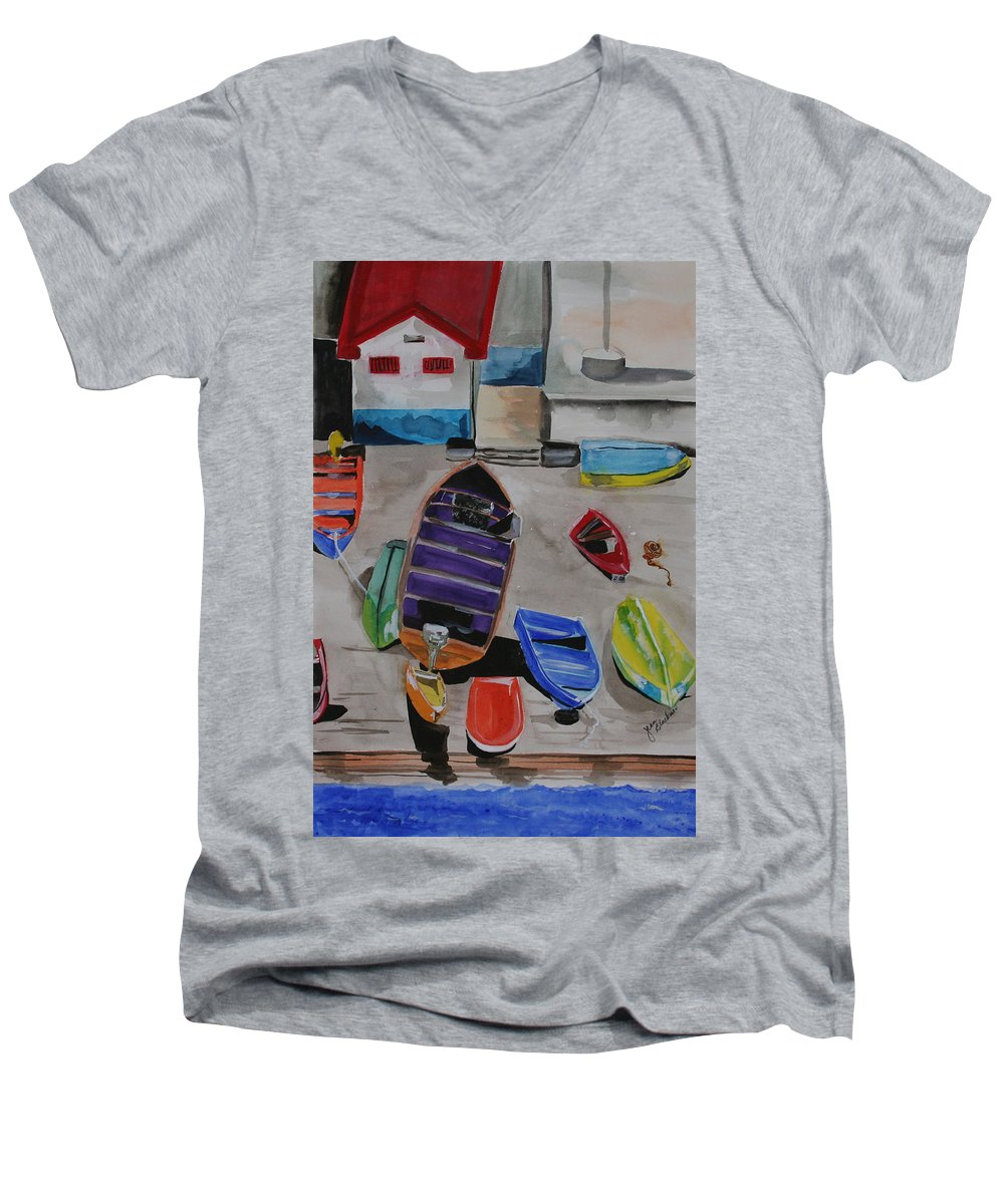 Boats Men's V-Neck T-Shirt featuring the painting Rainbow On The Dock by Jean Blackmer