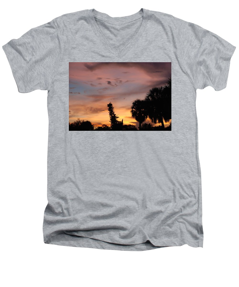 Sunset Men's V-Neck T-Shirt featuring the photograph Rainbow Sunset by Rob Hans