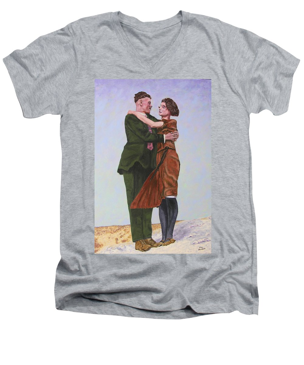 Double Portrait Men's V-Neck T-Shirt featuring the painting Ray And Isabel by Stan Hamilton