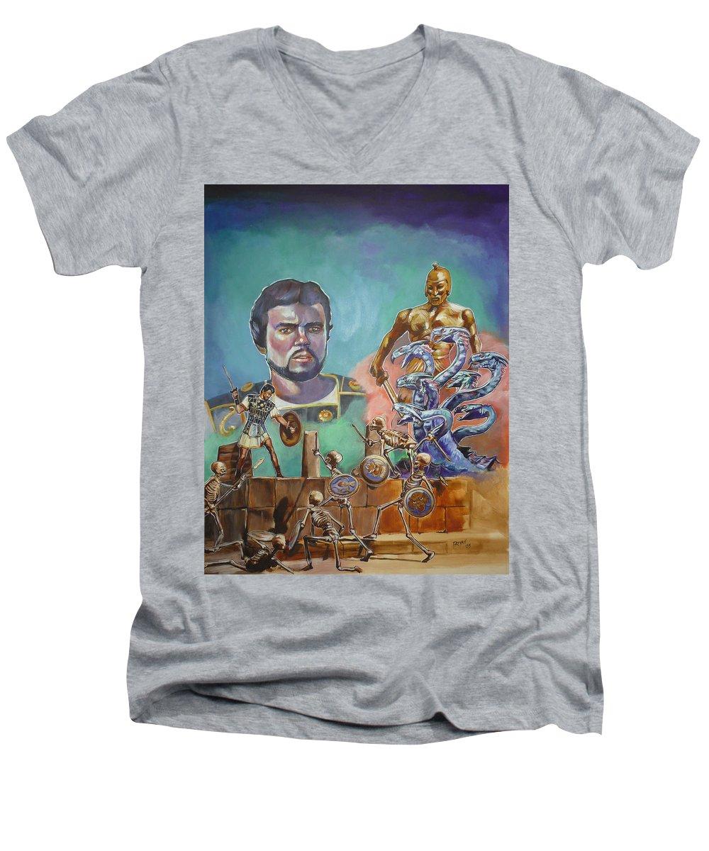 Jason Argonauts Hydra Talos Skeletons Movie Harryhausen Fantasy Sci-fi Men's V-Neck T-Shirt featuring the painting Ray Harryhausen Tribute Jason And The Argonauts by Bryan Bustard