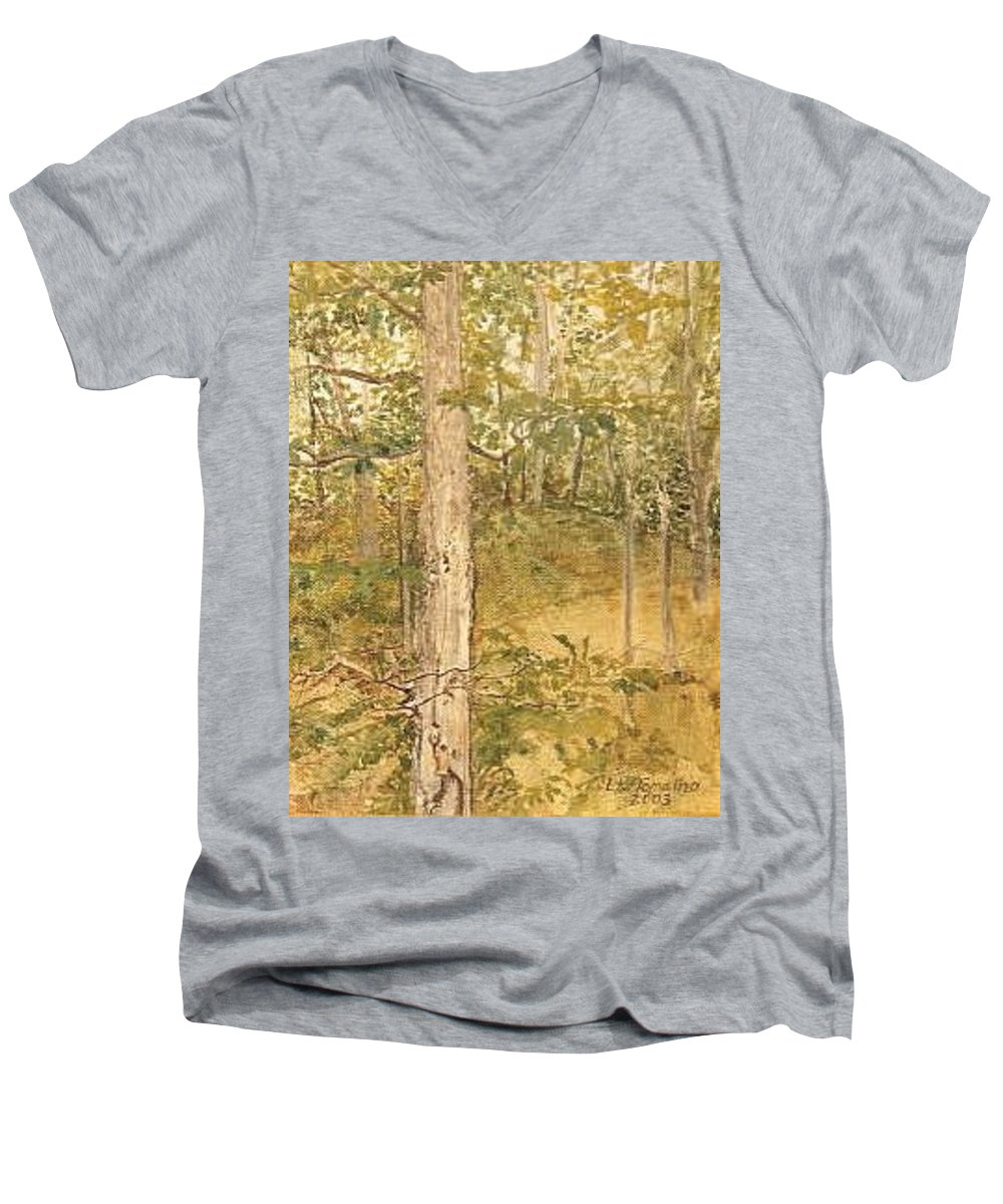 Trees Men's V-Neck T-Shirt featuring the painting Raystown Lake by Leah Tomaino