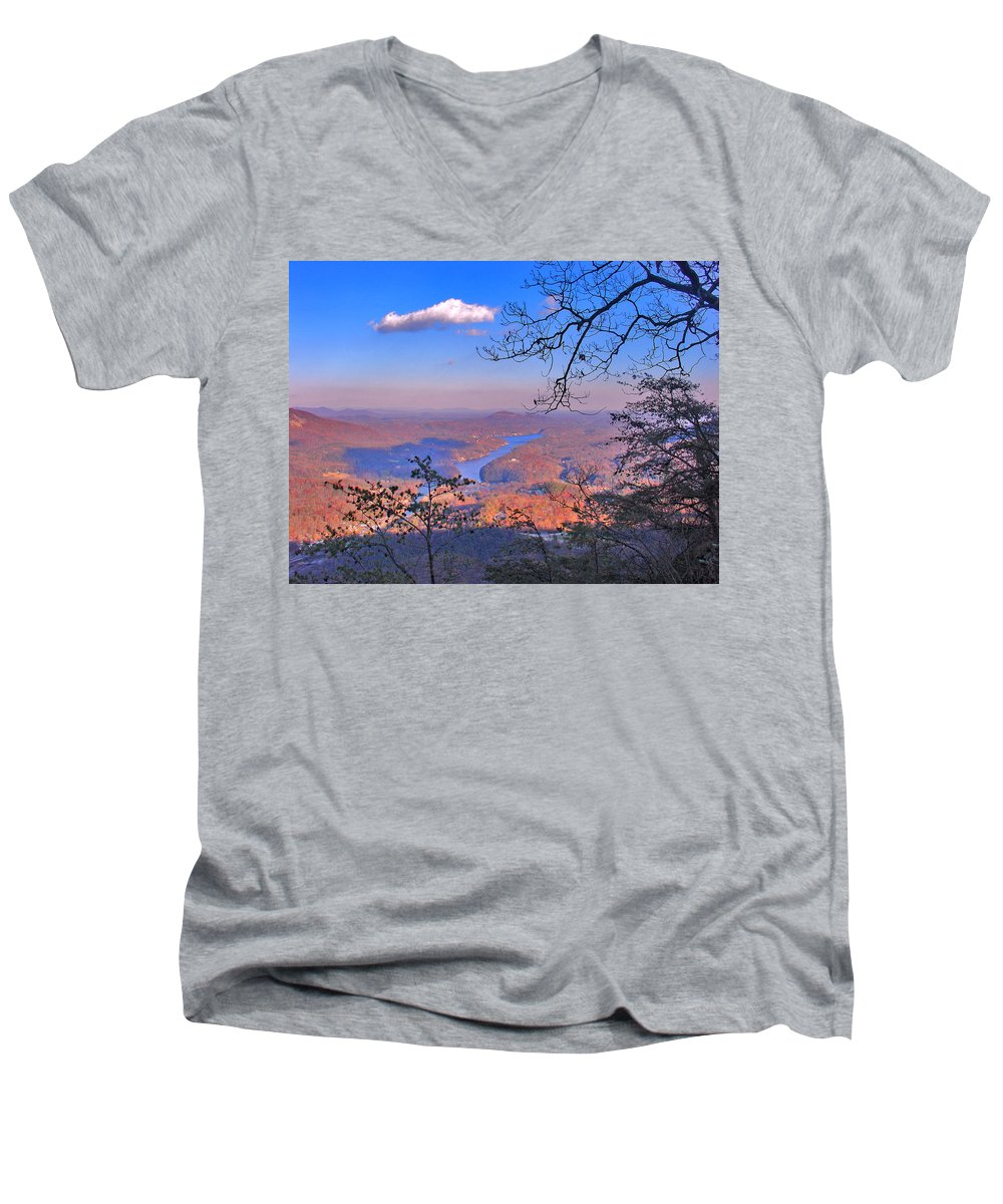 Landscape Men's V-Neck T-Shirt featuring the photograph Reaching For A Cloud by Steve Karol