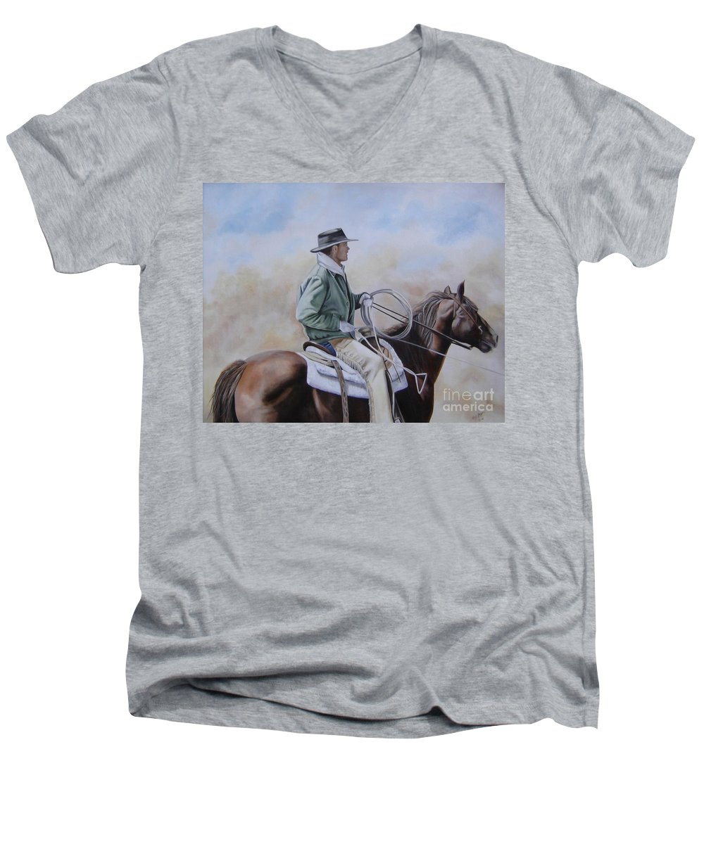 Ranch Men's V-Neck T-Shirt featuring the painting Ready To Rope by Mary Rogers