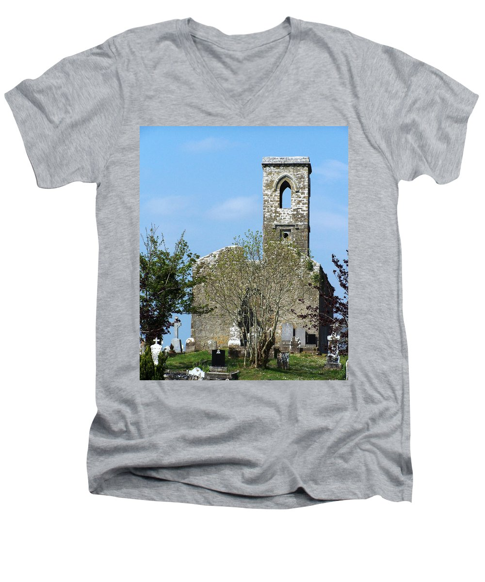 Fuerty Men's V-Neck T-Shirt featuring the photograph Rear View Fuerty Church And Cemetery Roscommon Ireland by Teresa Mucha