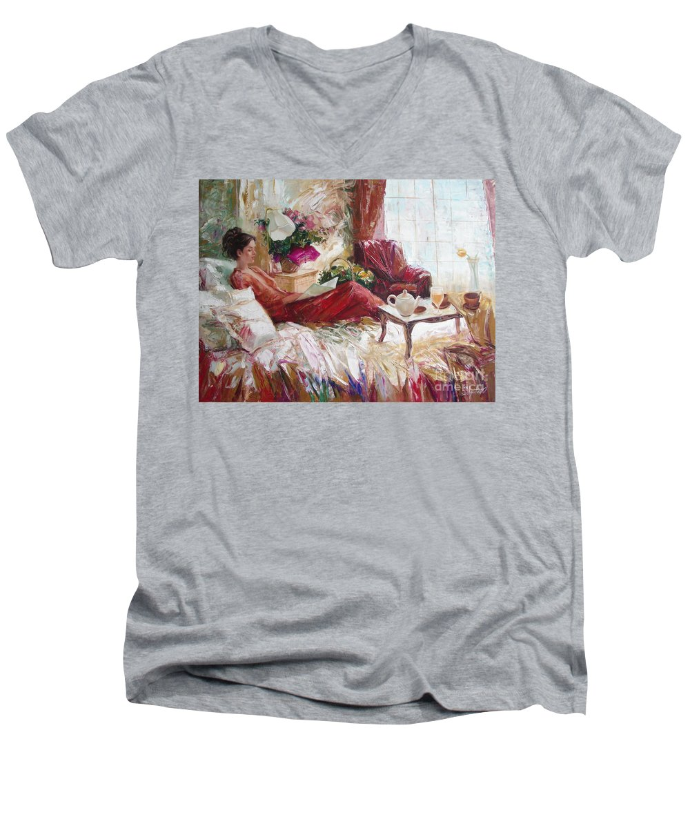 Art Men's V-Neck T-Shirt featuring the painting Recent News by Sergey Ignatenko