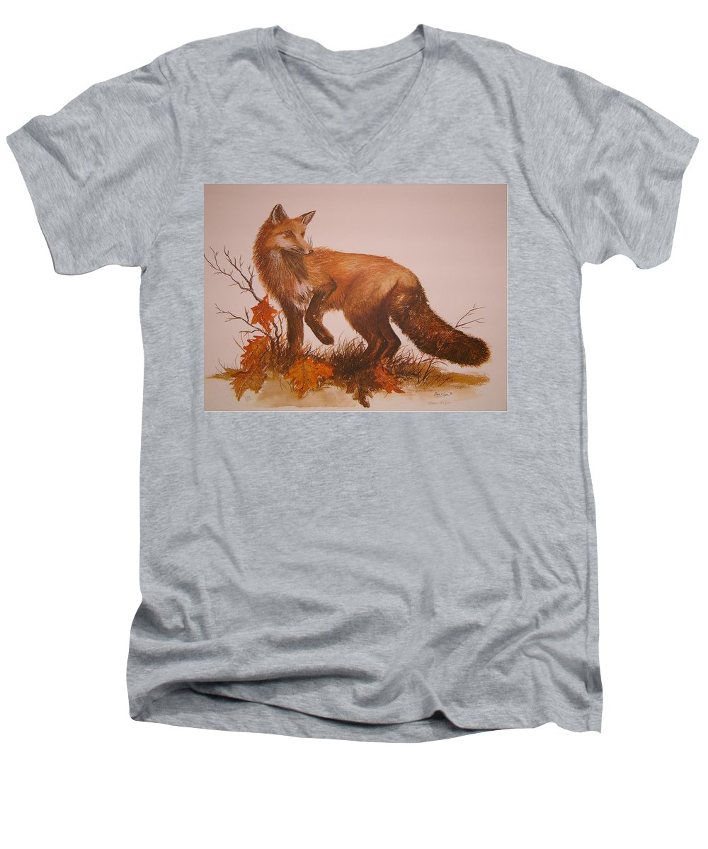Nature Men's V-Neck T-Shirt featuring the painting Red Fox by Ben Kiger