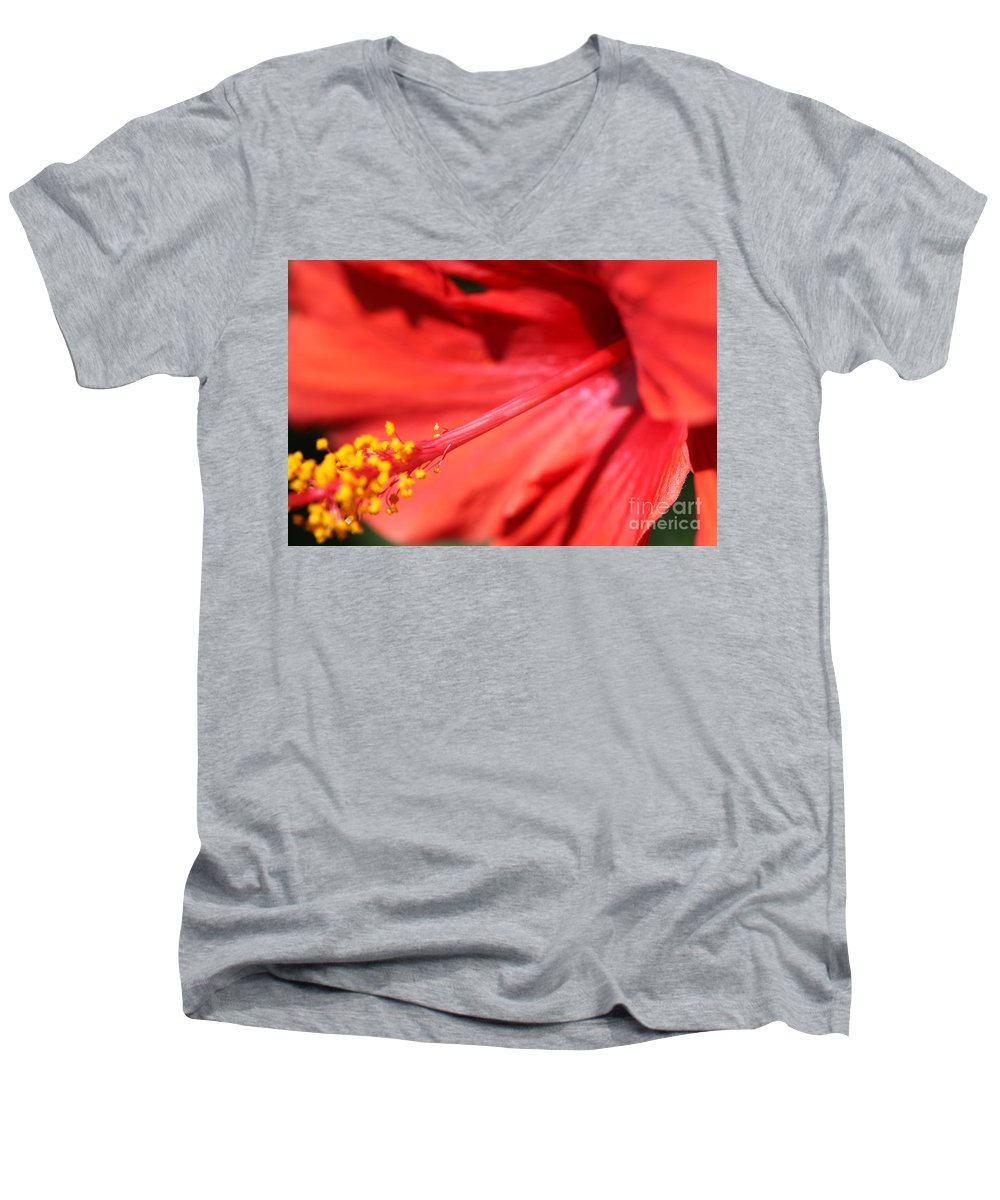 Red Men's V-Neck T-Shirt featuring the photograph Red Hibiscus by Nadine Rippelmeyer