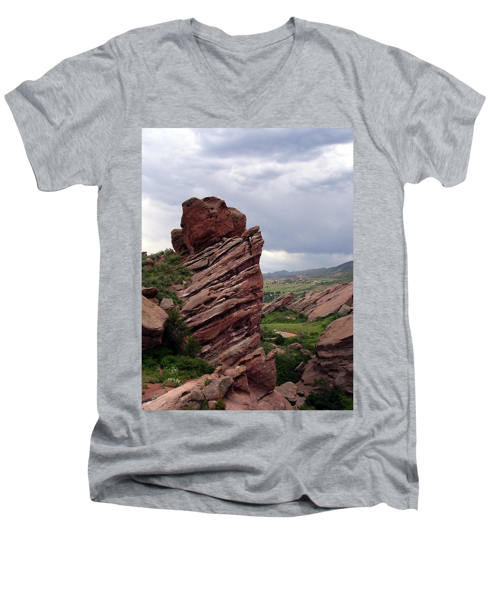Red Rocks Men's V-Neck T-Shirt featuring the photograph Red Rocks Colorado by Merja Waters