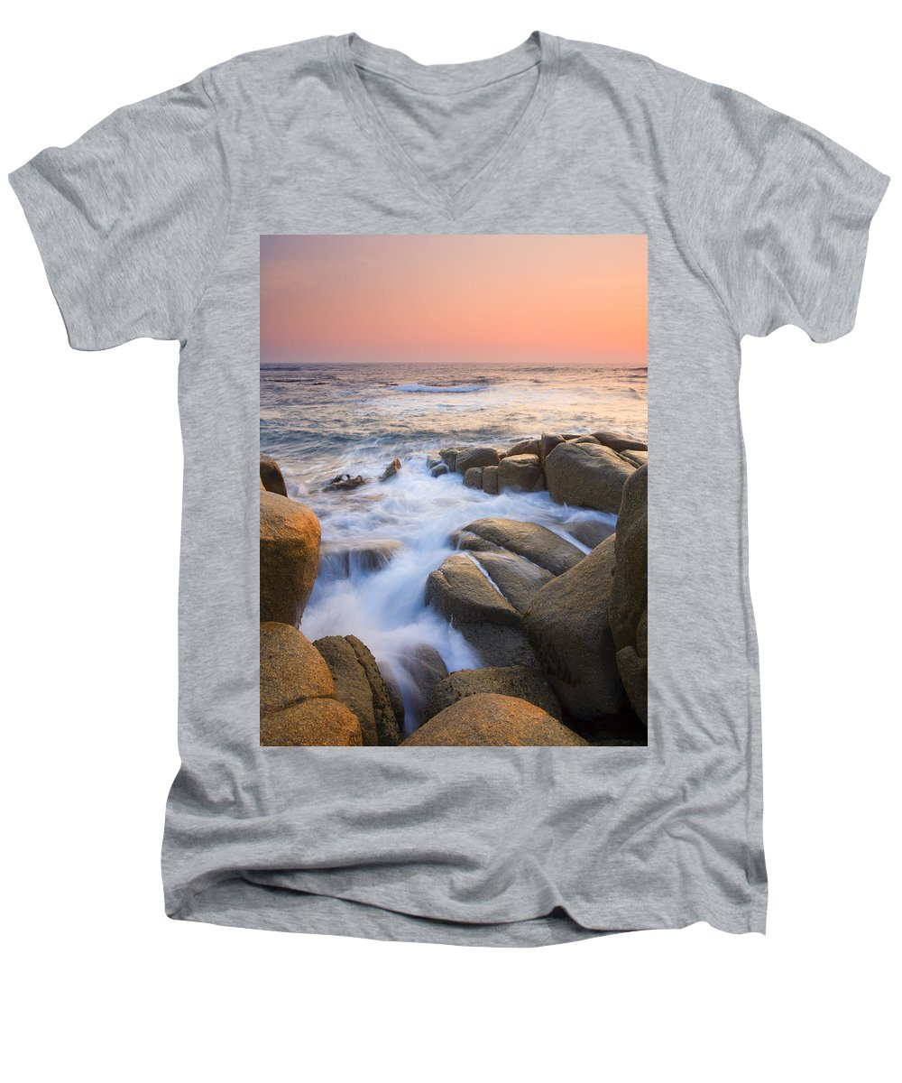 Sunrise Men's V-Neck T-Shirt featuring the photograph Red Sky At Morning by Mike Dawson