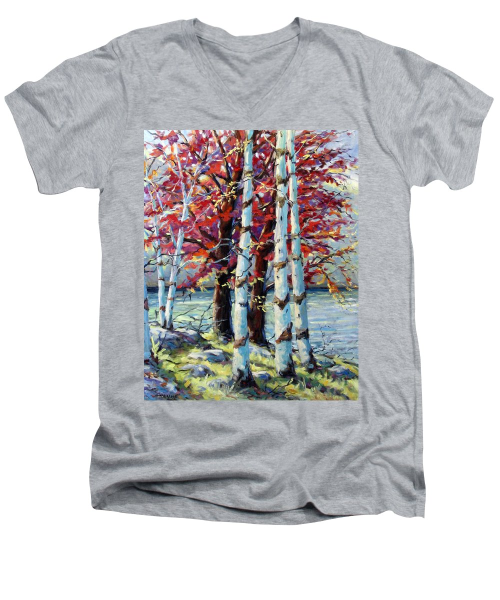 Birches Men's V-Neck T-Shirt featuring the painting Red Splash by Richard T Pranke